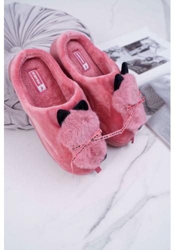 Dámske mačacie papuče s mašľou v tmavoružovej farbe