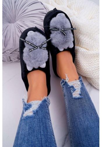 Mačacie dámske papuče čiernej farby s mašľou