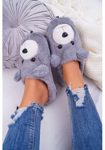 Sivé kožušinové papuče s medveďom pre dámy