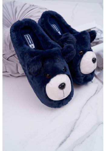 Kožušinové dámske papuče tmavomodrej farby s medveďom