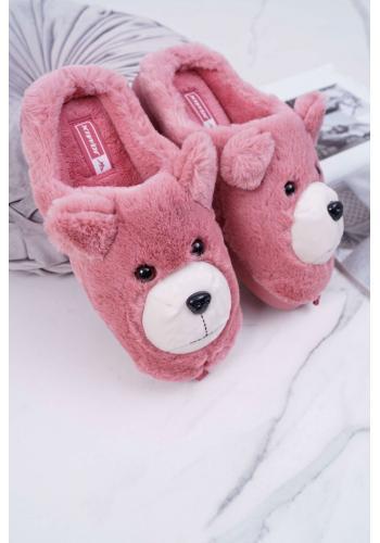 Tmavoružové kožušinové papuče s medveďom pre dámy