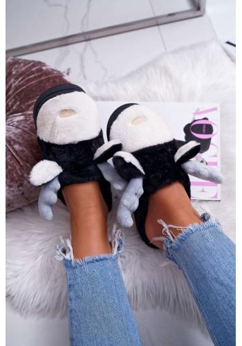 Dámske kožušinové papuče so sobom v čiernej farbe