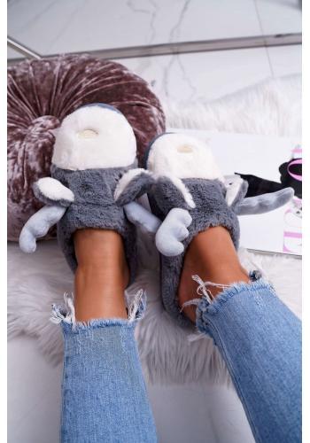 Kožušinové dámske papuče sivej farby so sobom
