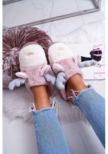Ružové kožušinové papuče so sobom pre dámy