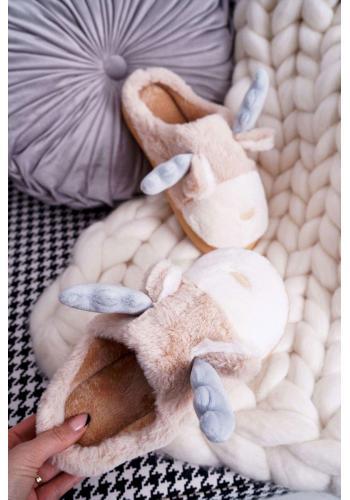 Dámske kožušinové papuče so sobom v béžovej farbe