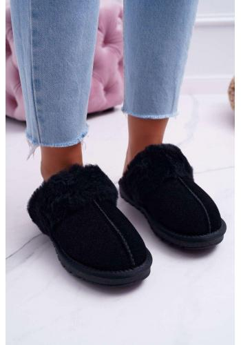 Teplé dámske papuče čiernej farby s kožušinou
