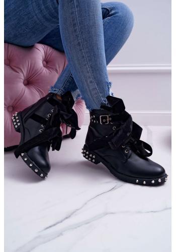 Čierne módne Workery s vybíjaním pre dámy