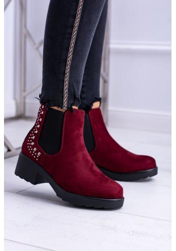 Bordové klasické topánky s vybíjaním pre dámy