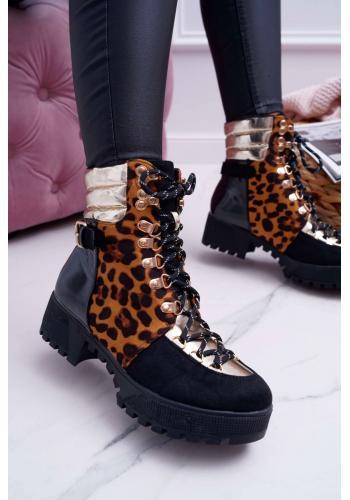 Štýlové dámske Workery čiernej farby s leopardím vzorom