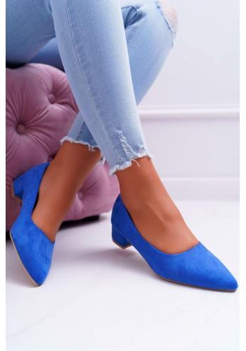 Dámske semišové lodičky na nízkom podpätku v modrej farbe