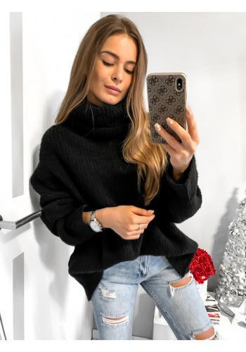 Dámsky oversize čierny sveter-rolák