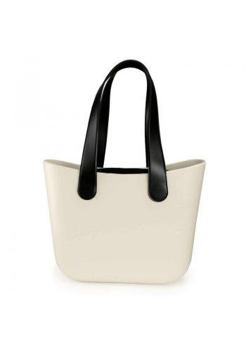 Silikónová dámska kabelka krémovej farby s veľkými rúčkami