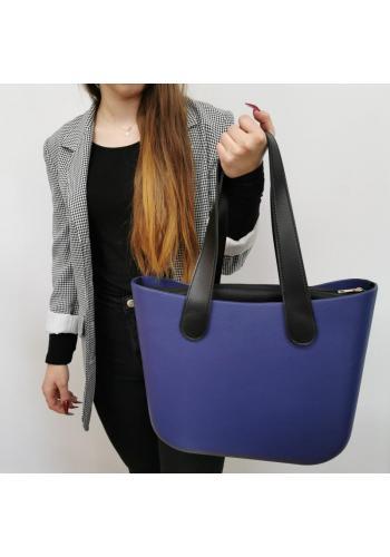 Tmavomodrá silikónová kabelka s veľkými rúčkami pre dámy