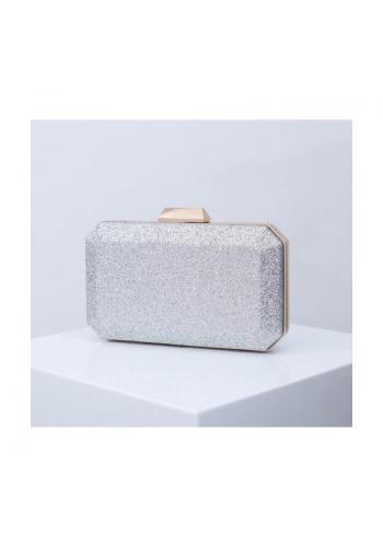 Dámska brokátová kabelka v striebornej farbe