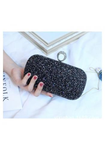 Spoločenská dámska kabelka čiernej farby s brokátom