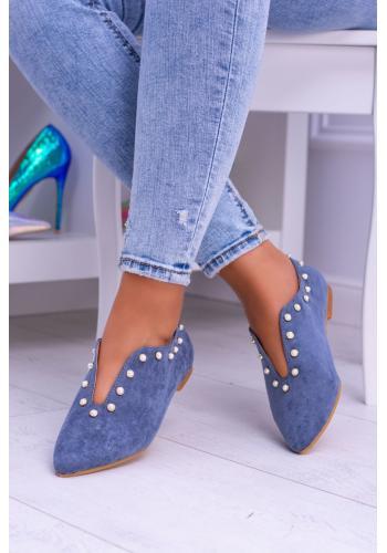 Modré semišové poltopánky s výrezom pre dámy