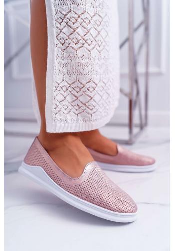 Kožené dámske poltopánky ružovej farby s dierkami