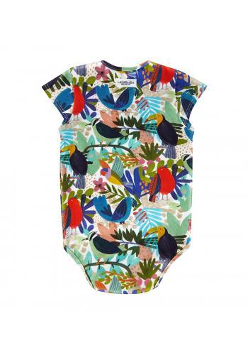 Bavlnené body s krátkym rukávom, s farebnou potlačou tropických vtákov