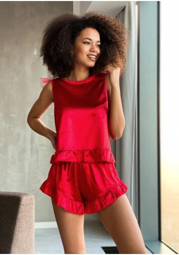 Červené saténove pyžamo, tričko bez rukávu