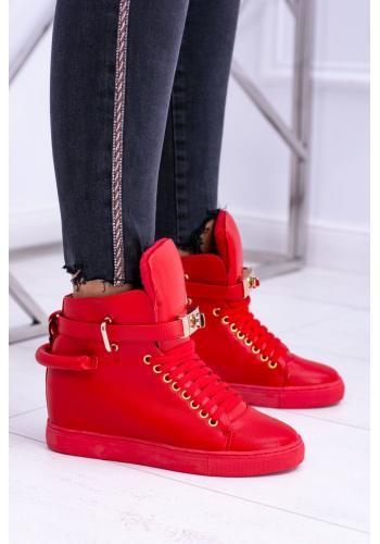 Červené oteplené Sneakersy so zlatými doplnkami pre dámy