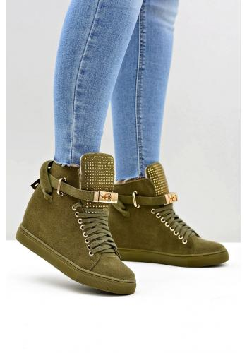 Semišové dámske Sneakersy olivovej farby so zirkónmi na jazyku