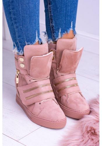 Dámske semišové Sneakersy so zlatými doplnkami v ružovej farbe