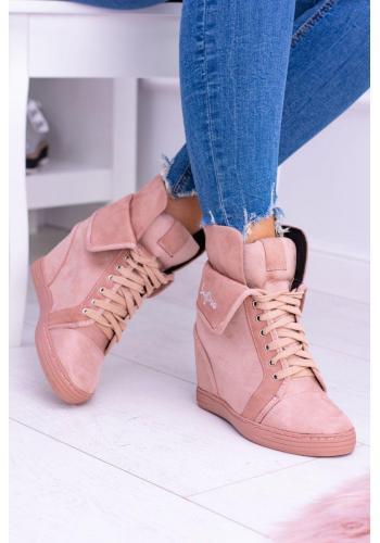 Ružové semišové Sneakersy na skrytom opätku pre dámy