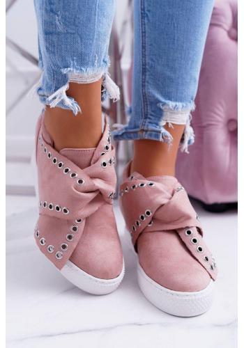 Dámske semišové Sneakersy so striebornými očkami v ružovej farbe
