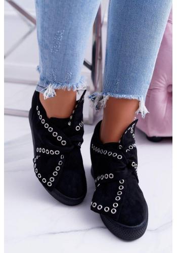 Čierne semišové Sneakersy so striebornými očkami pre dámy