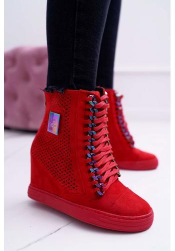 Červené ažúrové Sneakersy s retiazkami pre dámy