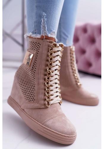 Ažúrové dámske Sneakersy béžovej farby s retiazkami