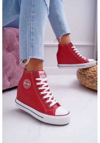 Červené štýlové Sneakersy na klinovom opätku pre dámy