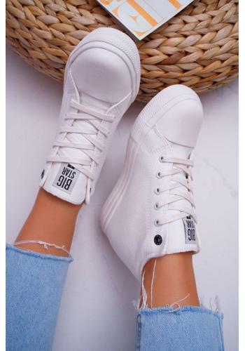 Biele módne Sneakersy Big Star na klinovom opätku pre dámy