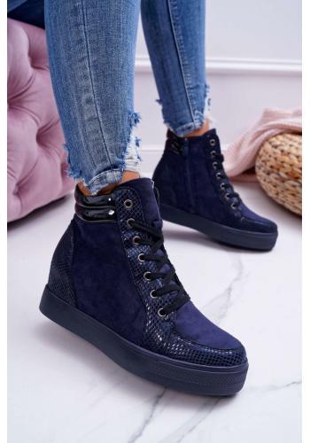 Dámske módne Sneakersy na skrytom opätku v tmavomodrej farbe