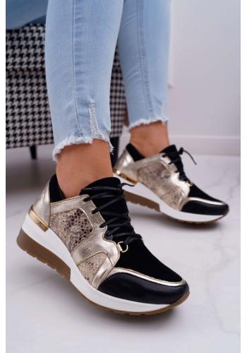 Zlato-čierne semišové Sneakersy na klinovom opätku pre dámy