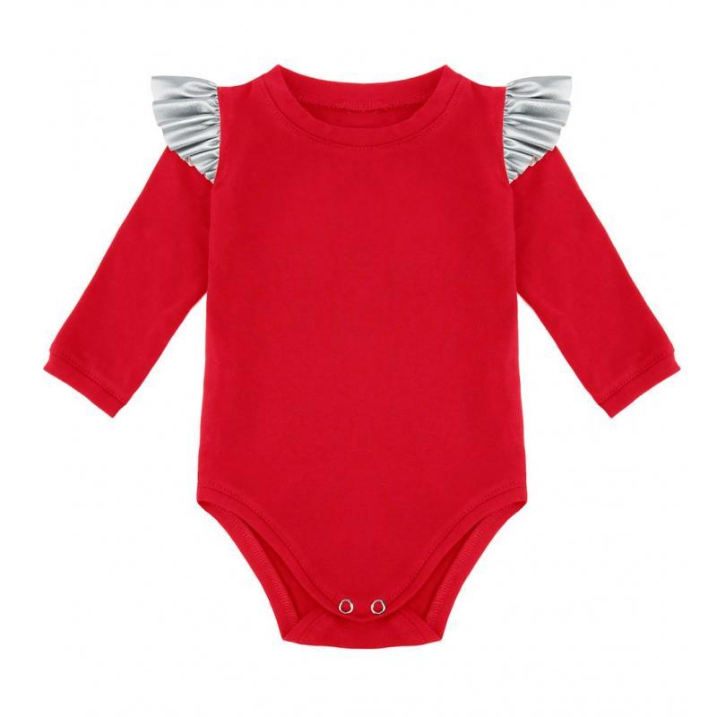 Bavlnené body červenej farby so striebornými volánikmi na ramenách