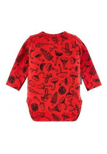 Červené bavlnené body s potlačou hríbov