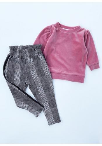 Pletené detské nohavice s vysokým pásom a ozdobným pásikom na bokoch