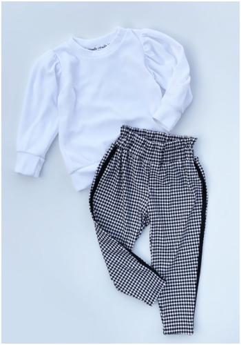 Dievčenské nohavice s vysokým pásom v šachovitom motíve