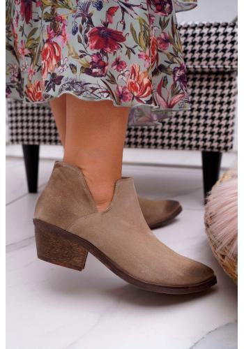 Béžové semišové topánky na jar pre dámy