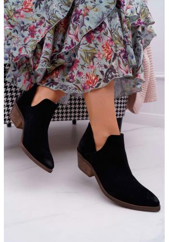 Semišové dámske topánky čiernej farby na jar