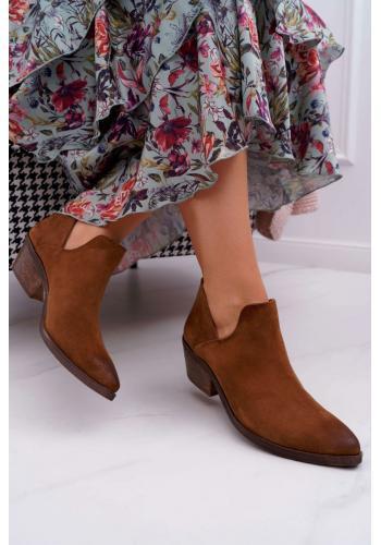 Hnedé semišové topánky na jar pre dámy