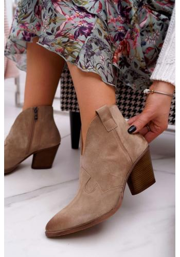 Dámske semišové topánky na podpätku v béžovej farbe