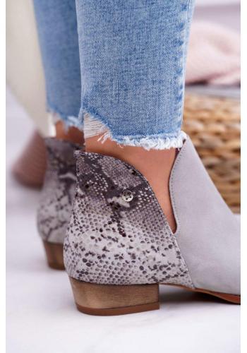 Členkové dámske topánky sivej farby so zdobenou pätou