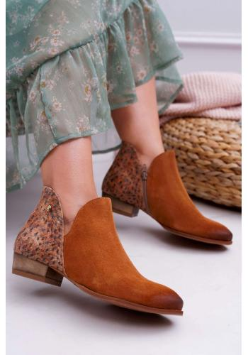 Hnedé jarné topánky so zdobenou pätou pre dámy