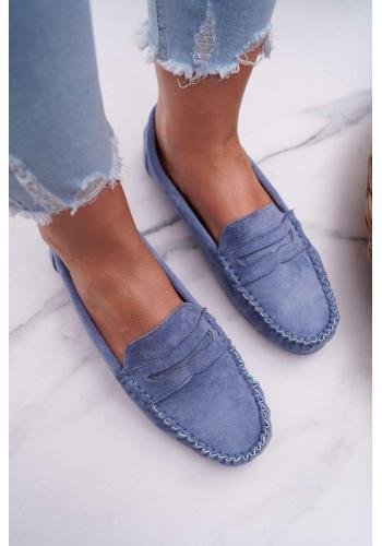 Modré semišové mokasíny pre dámy