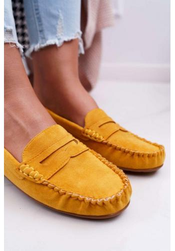 Žlté semišové mokasíny pre dámy
