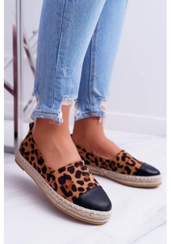 Dámske klasické espadrilky s leopardím vzorom v hnedej farbe