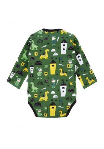 Zelené bavlnené body s dlhým rukávom, s farebnou potlačou