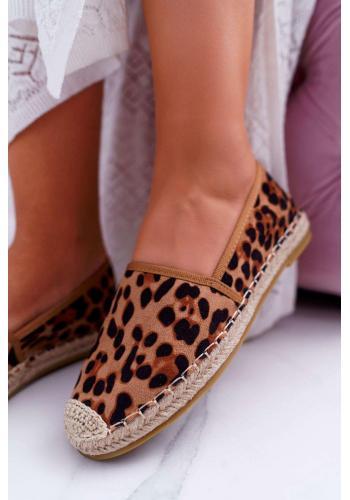 Hnedé semišové espadrilky s leopardím vzorom pre dámy